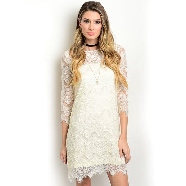 Shop the Trends Women's Sleeve Lace Shift Dress