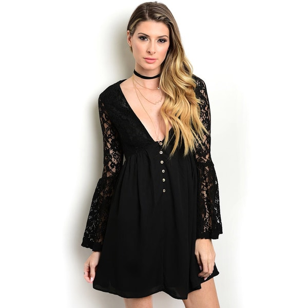Shop the Trends Women's Long-Sleeve Lace Dress