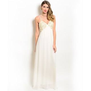 Shop the Trends Women's Embellished Bodice Empire Gown With V-Neckline