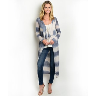 Shop the Trends Women's Allover Tie-Dye Striped Design Cardigan With Open Waterfall Front