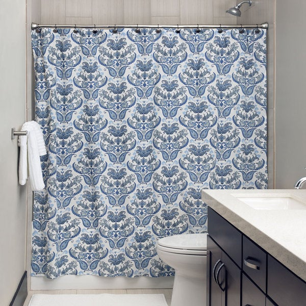 Andrew Charles Paisley Park Collection 72-inch Indigo and White Shower Curtain 17541117