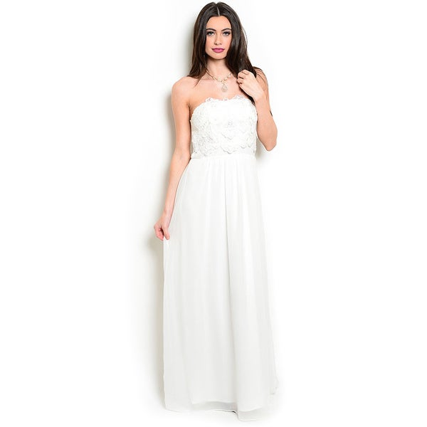 Shop the Trends Women's Strapless Empire Waist Gown With Lace Bodice And Full Lining