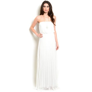 Shop the Trends Women's Strapless Chiffon Blouson Bodice Gown With Pleated Chiffon Skirt