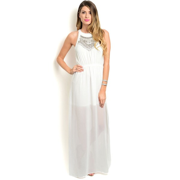Shop the Trends Women's Sleeveless Embellished Neck Empire Cut Maxi Dress