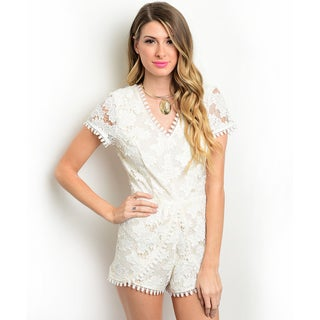 Shop the Trends Women's Short Sleeve Lace Romper With V-Neckline