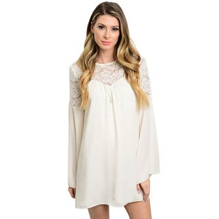 Shop the Trends Women's Long Sleeve Boho Shift Dress With Lace Yoke And Bell Sleeves