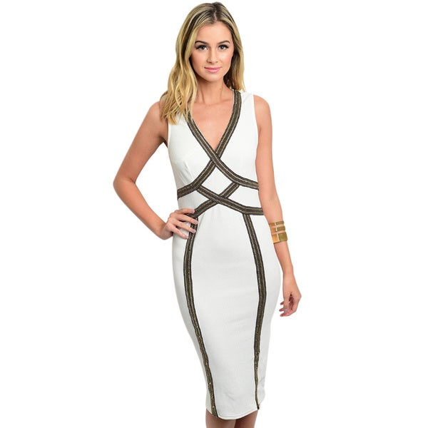 Shop the Trends Women's Sleeveless Deep V-Neck Bodycon Dress With Metallic Trim Details