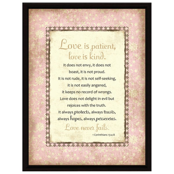 Dexsa Love-1 Cor 13 Wood Frame Plaque with Easel
