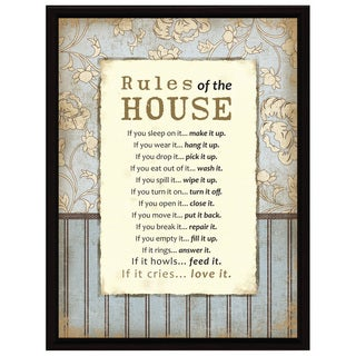 Dexsa Rules Of The House Wood Frame Plaque with Easel