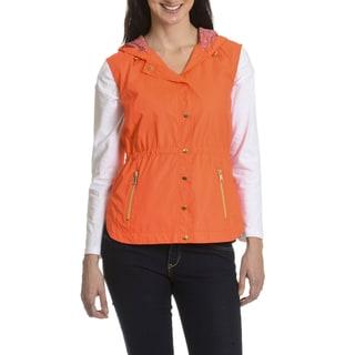 Casual Identity Women's Taffeta and Printed Mesh Lattice Vest