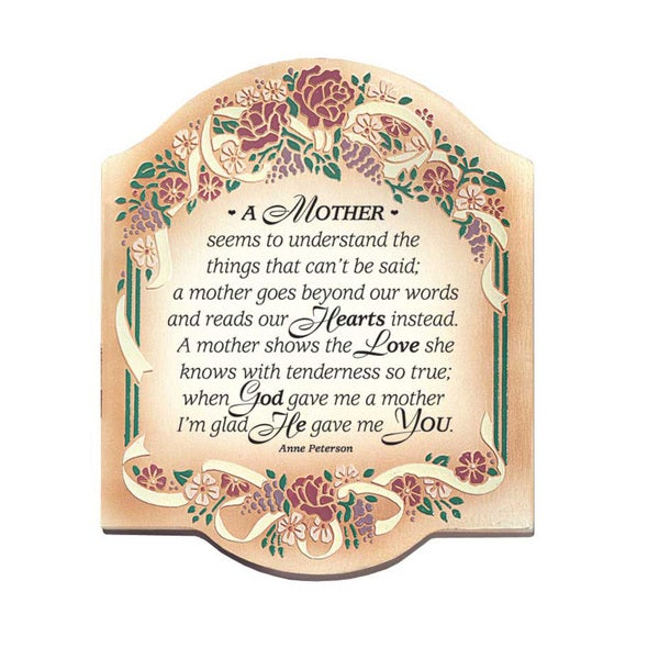 Dexsa A Mother Seems To Embossed Wood Plaque with Easel