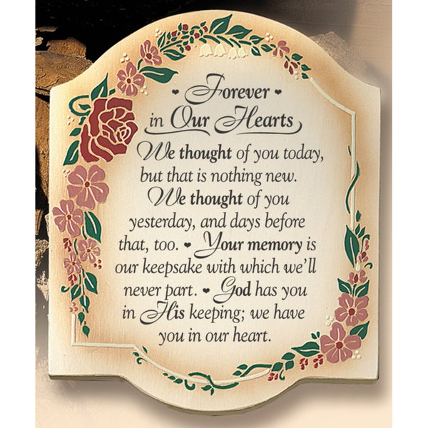 Dexsa Forever In Our Hearts Embossed Wood Plaque with Easel