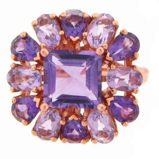 Meredith Leigh Pink over Silver Amethyst Cocktail Ring