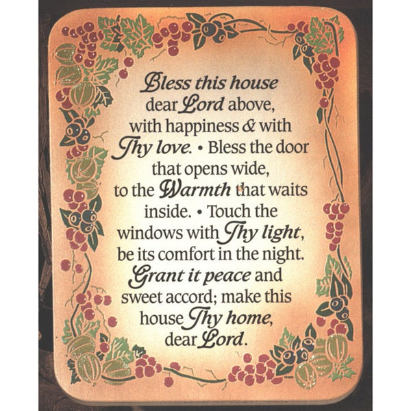 Dexsa Bless This House Embossed Wood Plaque with Easel