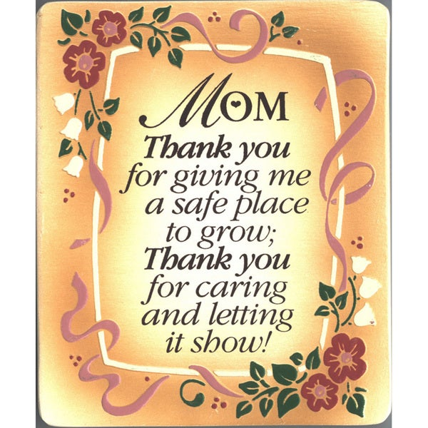 Dexsa Mom, Thank You Embossed Wood Plaque with Easel