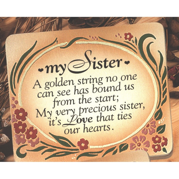 Dexsa My Sister Embossed Wood Plaque with Easel