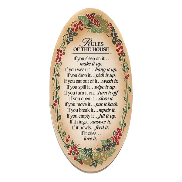 Dexsa Rules Of The House Embossed Wood Plaque with Easel