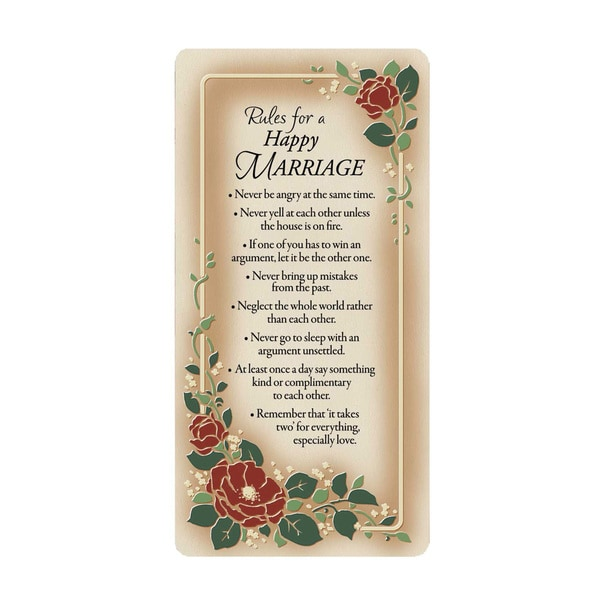 Dexsa Rules For A Happy Marriage Embossed Wood Plaque with Easel