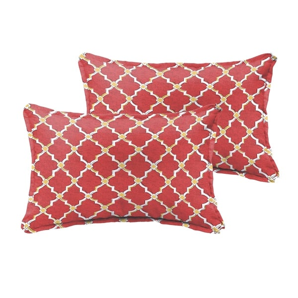Selena Red Gold Berry Indoor/ Outdoor Flange Lumbar Pillows