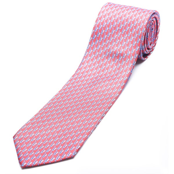 Ermenegildo Zegna Red-blue Silk Slim Necktie