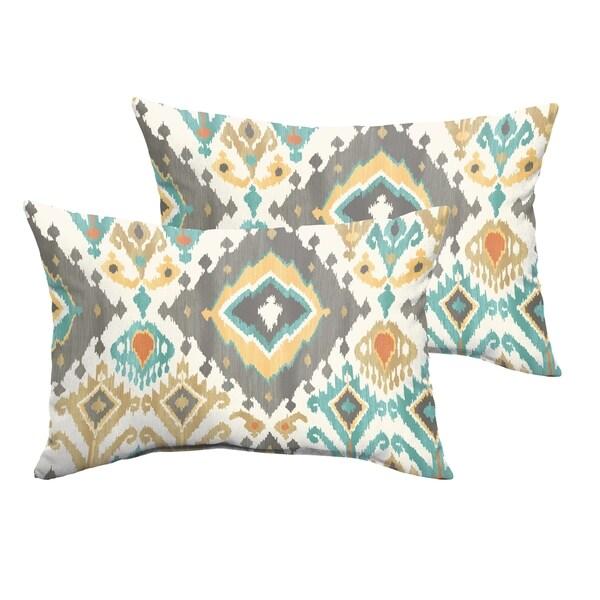 Selena Grey Aqua Ikat Indoor/ Outdoor Knife-Edge Lumbar Pillows