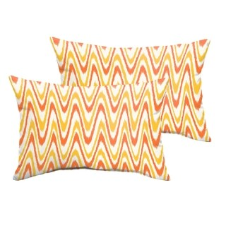 Selena Citrus Waves Indoor/ Outdoor Knife-Edge Lumbar Pillows (Set of 2)