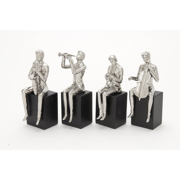 Gleaming Ceramic Wood Musician Set of Four 5-inch x 14-inch Accent Piece 17542519