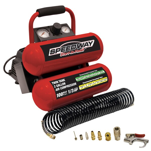 Speedway 2-gallon Twin Stack Portable Air Compressor