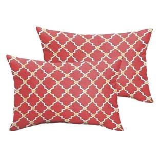 Selena Red Gold Berry Indoor/ Outdoor Knife-Edge Lumbar Pillows (Set of 2)