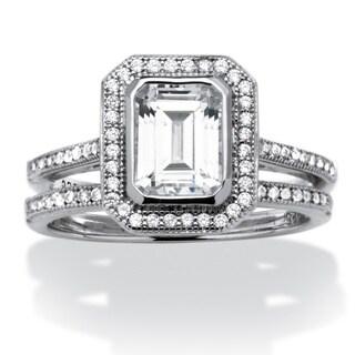 PalmBeach 1.76 TCW Emerald-Cut Cubic Zirconia Platinum over Sterling Silver 2-Piece Halo Bridal Ring Set Classic CZ