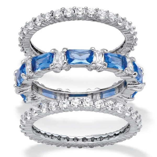 PalmBeach Platinum over Silver Cubic Zirconia and Blue Emerald-cut Crystal Eternity Ring Set