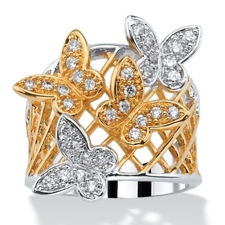 PalmBeach .48 TCW Pave Cubic Zirconia Two-Tone Butterfly Latticework Ring 18k Gold-Plated Bold Fashion
