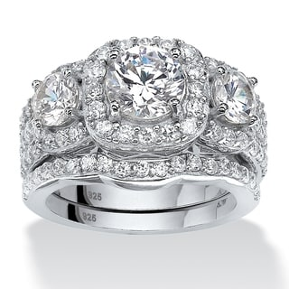 PalmBeach 3.74 TCW Round Cubic Zirconia Two-Piece Triple Halo Bridal Ring Set in Platinum over Sterling Silver Glam CZ