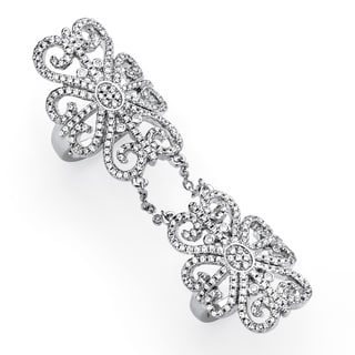 PalmBeach 2.53 TCW Micro-Pave Cubic Zirconia Arabesque Scroll Knuckle Ring in Silvertone Bold Fashion