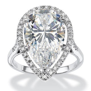 PalmBeach 8.33 TCW Pear-Cut Cubic Zirconia Halo Ring in Platinum over Sterling Silver Glam CZ