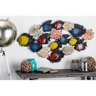 Metal Wood Fish Wall Decor 47-inch x 25-inch Accent Piece