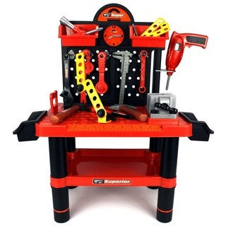 Velocity Toys Superior Work Shop Children's Kid's Pretend Play Toy Work Shop Tool Set with Tools Accessories
