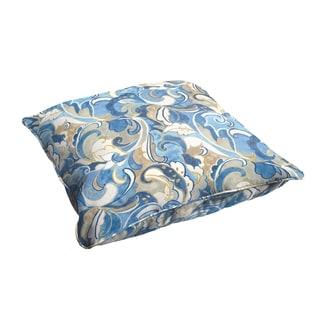 Selena Blue Grey Abstract 28 x 28-inch Indoor/ Outdoor Corded Edge Floor Pillow