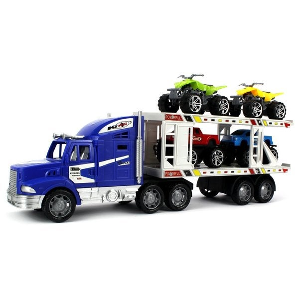 Off-Road King Express Trailer Children's Kid's Friction Toy Truck Ready To Run (Colors May Vary)