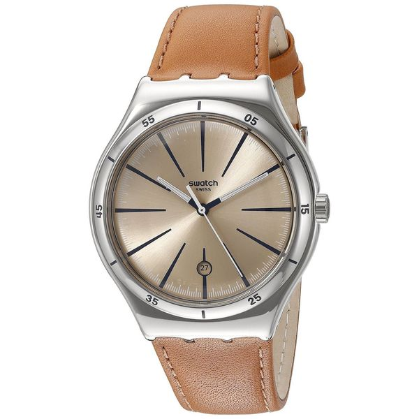 Swatch Men's YWS408C 'Irony Deep Hole' Brown Leather Watch