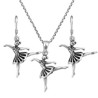 Sweet Dancer Ballerina Stering Silver Necklace Earrings Set (Thailand)