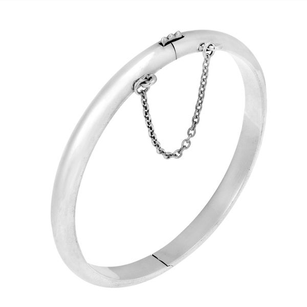 Shiny 50mm Baby Girl Chain Lock .925 Silver Bangle (Thailand)