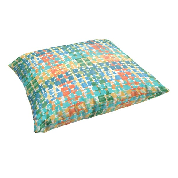 Selena Blue Green Squares 28 x 28-inch Indoor/ Outdoor Knife Edge Floor Pillow