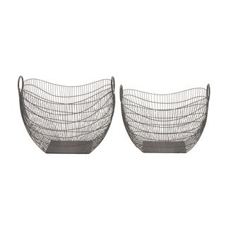 Set of 2 Metal Wired Baskets18-inch/ 19-inch Storage Accessory