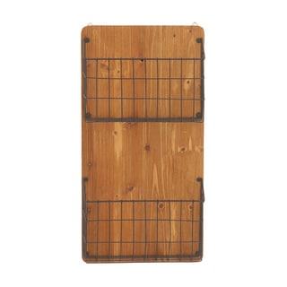 Wood Metal Wall Basket 12-inch x 24-inch Storage Accessory