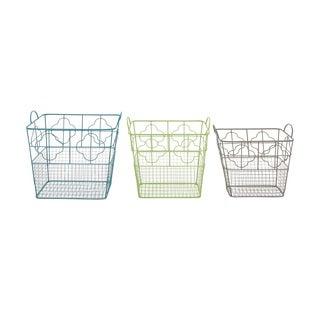 Metal Storage Basket Set of 3 19-inch/ 18-inch/ 16-inch Storage Accessory