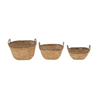 Sea Grass Basket Set of 3 17-inch/ 19-inch/ 21-inch Storage Accessory