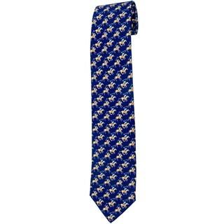 Davidoff 100-percent Twill Silk Blue Polo Players Neck Tie