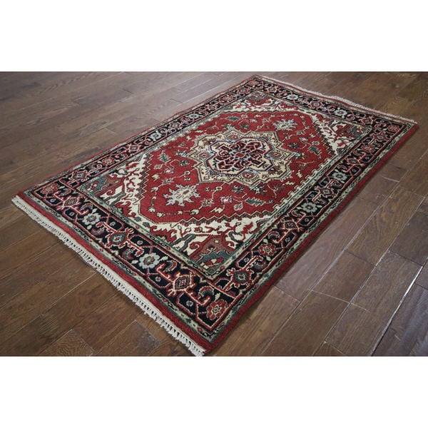 H9337 Red/ Black Wool Vibrance Collection Heriz Serapi Hand-knotted Area Rug (4' x 6') 17543925