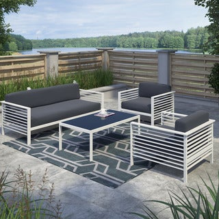 CorLiving Nantucket 4pc Dark Grey and White Patio Conversation Set